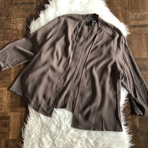 Eileen Fisher Petite Large Brown Open Front Blouse